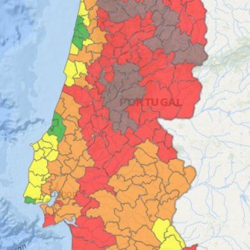 Trinta e sete concelhos de nove distritos sob risco máximo de incêndio
