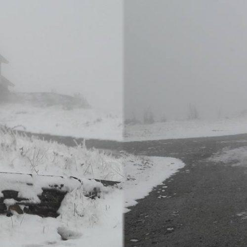 Neve cria manto branco no Monte do Colcurinho