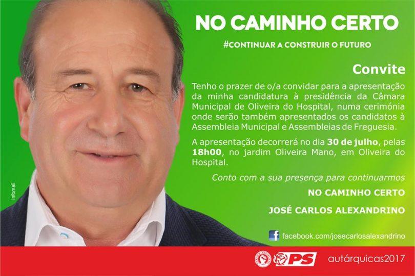 """José Carlos Alexandrino apresenta candidatura sob o lema """"No Caminho Certo"""""""