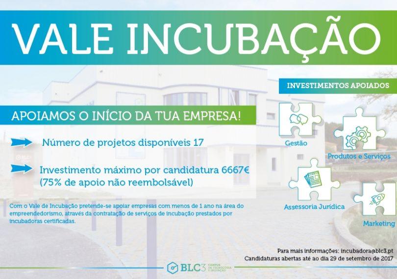BLC3 disponibiliza Vales de Incubação