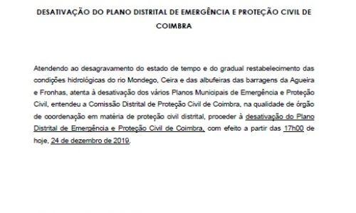 DESATIVAÇÃO DO PLANO DISTRITAL DE EMERGÊNCIA E PROTEÇÃO CIVIL DE COIMBRA