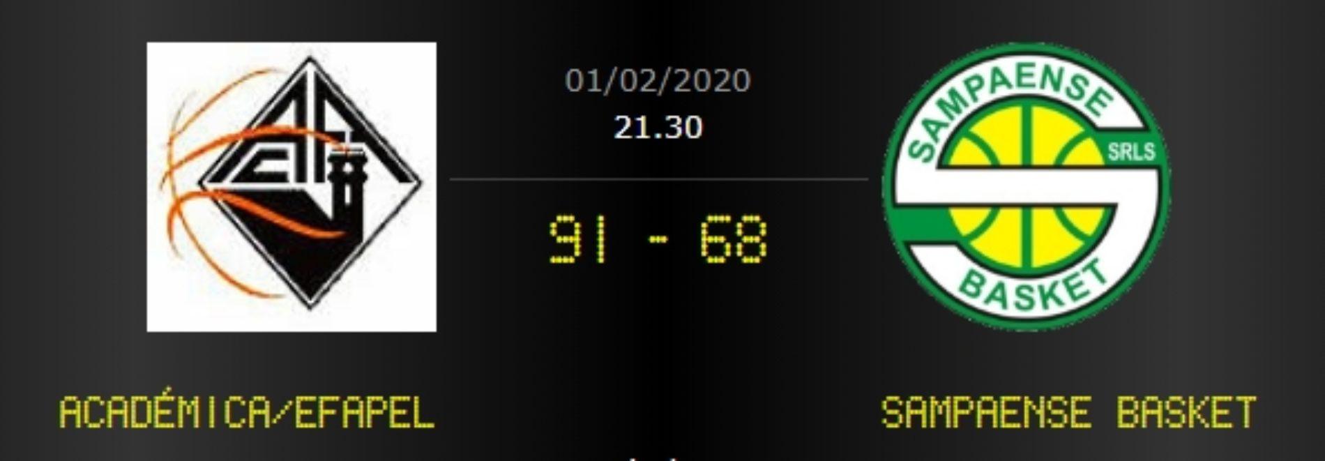 No derby distrital em basquetebol jogado este sábado em Coimbra, a Académica venceu o Sampaense (91-68).