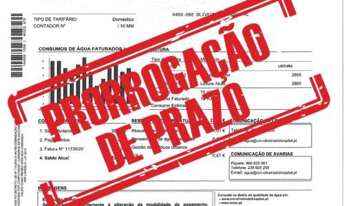 Município de Oliveira do Hospital prorroga prazo de pagamento de faturas da água